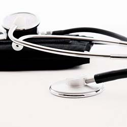 A stethoscope on a table.